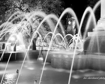 Fountain. Black and white photography art print. Dark, moody, emotive.