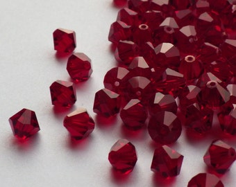 Vintage Swarovski Crystal Beads, 4mm Siam, Article 5301, 50 Vintage Crystal Beads