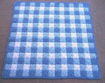 Baby Boy Afghan, Crocheted Baby Blanket, Gingham Baby Afghan, Blue and White Baby Blanket