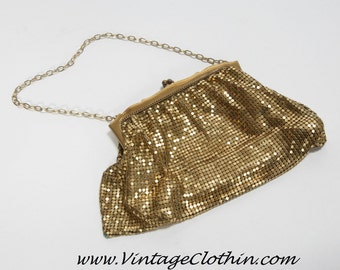 Whiting and Davis Vintage Mesh Purse, Whiting and Davis Purse, Vintage Purse, Gold Mesh Purse, Evening Purse, Gold Purse, Vintage Handbag