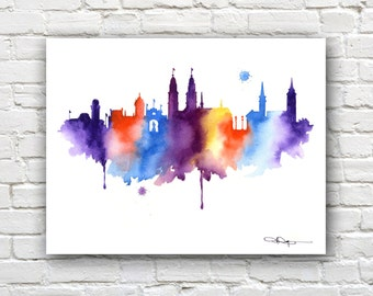 Zurich Skyline - Watercolor Art Print - Wall Decor