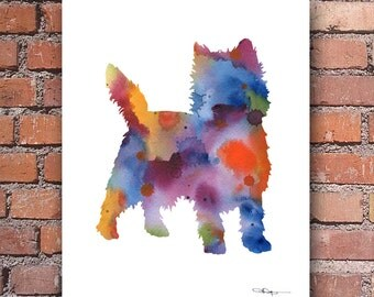 Cairn Terrier Art Print - Abstract Watercolor Painting - Wall Decor