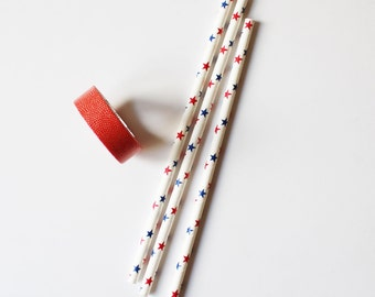 Set of 10 straws - blue and red stars