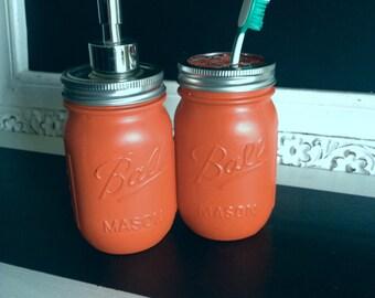 Orange Ball Mason Jar Soap Dispenser or Toothbrush Holder