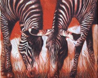 "African paper napkin serviette No 37. Design of two zebras. Ideal for decoupage, collage, scrapbooking. Size:13"" x 13""(33cm x 33cm)"