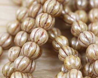 25pcs 8mm White Luster Picasso Melons Czech Glass Beads. Summer beads. bold natural color