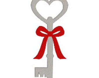 BUY 2, GET 1 FREE - Key to My Heart, Heart Key Machine Embroidery Design