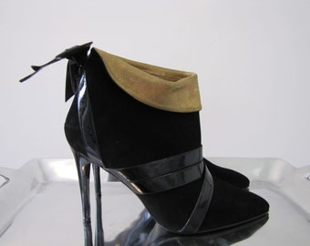 Christian LACROIX Couture Luxe Collection Black Suede Stiletto Boots  40/41