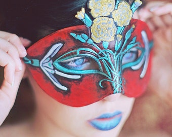 January Birthstone Carnation and Snowdrop Leather Mask - Limited Edition 1 of 10 Floral Flower Art Nouveau Mardi Gras Masquerade