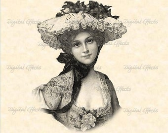 VICTORIAN LADY PORTRAIT Printable Digital Image Download-Iron On Transfer, Totes, Tea Towels T-Shirts Fabric; Scrapbooking, Decoupage #043