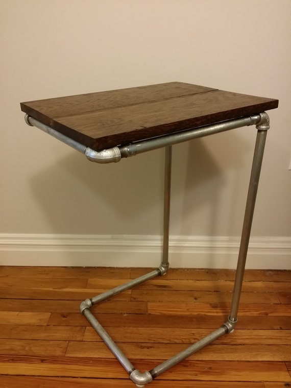industrial pipe side table reclaimed oak wood top