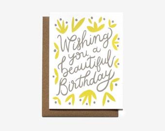 Beautiful Birthday - Screen Printed Folding Birthday Card