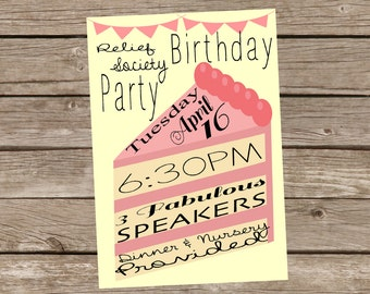 Relief Society Birthday Party Invitation (Customizable for ANY Event: Girl/Woman Birthday Party, etc)