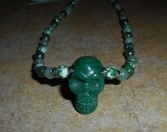 Aventurine Crystal Skull Necklace