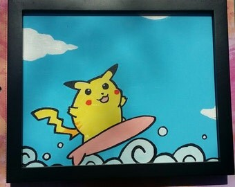 Surfing Pikachu Painting (Original)
