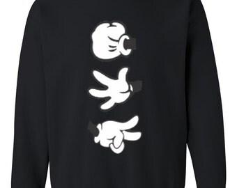 Mickey Hands Rock Paper Scissor Crewneck Sweatshirt - Rock Paper Scissor Tshirt