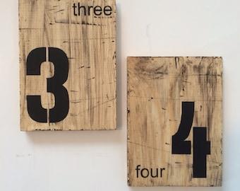 Wedding table numbers, industrial signs, industrial table numbers