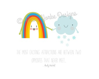 Rainbow and snow cloud andy Warhol quote a4 print
