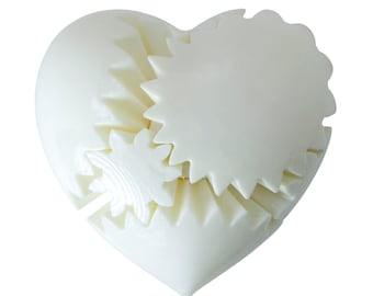 WHITE Glossy HEART TWISTER Mechanical Gear Mind Teaser Rotating 3D Printed Brain Toy