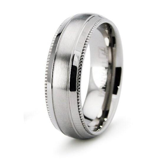 titanium ring band size 12 wedding classic style milgrain pattern