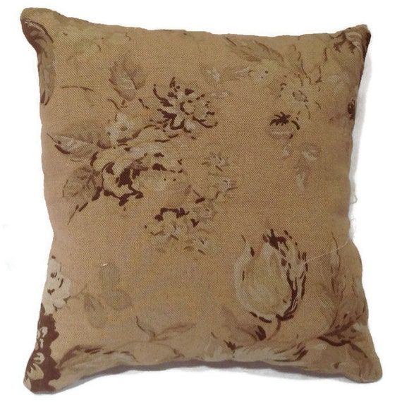 Throw Pillow Fabrics : Floral throw pillow vintage fabric shabby chic designer