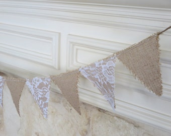 Burlap and Lace Mini Bunting - Wedding Shower Christening Party Banner