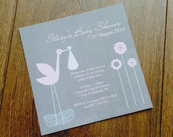 Customised Printable Baby Shower Invite - Baby Stalk Design