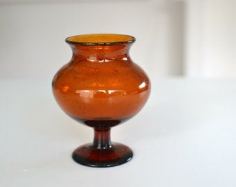 NEW PRICE!!! Boda vase by Erik Hoglund, Amber glass with bubbles hand made in Sweden--Mid century