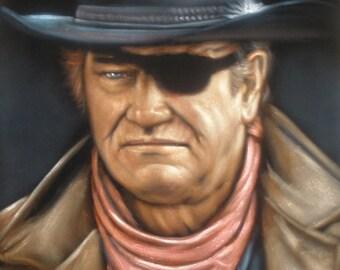 John Wayne badass cowboy legend black velvet oil painting handpainted signed art
