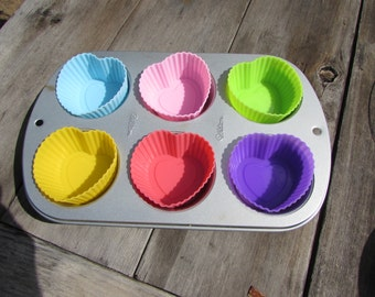 Heart Shaped Silicone Cupcake and Muffin Cups, Soap and Chocolate Molds. FDA Approved. Baking Supplies. Candle Supplies. Soap Supplies