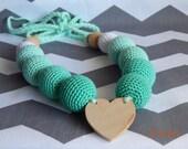 ON SALE Organic crochet nursing necklace, teething necklace