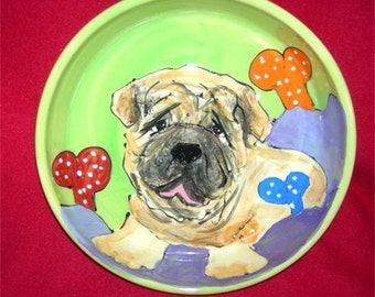 Hand Painted Ceramic Shar Pei Dog Bowl