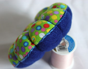 Pin Cushion - Lime Green Pincushion - Navy Blue Pincushion - Polka Dot Pin Cushion - Felt Pincushion - Mother's Day Gift