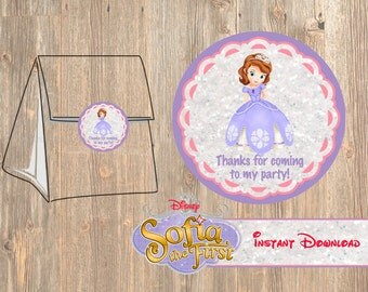 Sofia The First Favor Tag or Labels, Disney Birthday Party Favor, Printable Treat Bag Label Thank You Sticker Disney's Sophia,  2 inch Tags