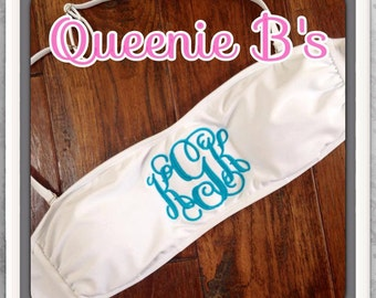 White Monogram Bandeau Swimsuit Top - 12 Colors To Choose From!