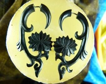 Fake Gauge Tribal Hanging Lotus Earrings (Pair) -  Fake Gauge Organic Horn, Fake Plugs - B023