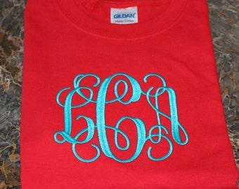 Monogrammed Short Sleeve Tee Shirt Size Large---SALE In STOCK ONLY!