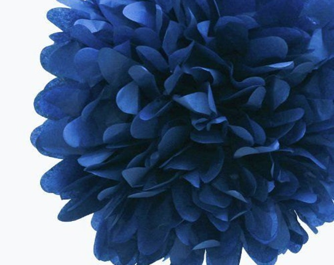 Parade Blue Tissue Paper Pom, Blue Pom, Blue Tissue Paper Pom Pom, Blue Paper Flower, Tissue Flower, Wedding and Birthday Party Decor, Poms