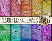 Marbelized Digital Paper, 10 Rainbow Marblelized Papers, Marbelized Background Papers, Wedding Announcement Digital Paper, Marbled Paper