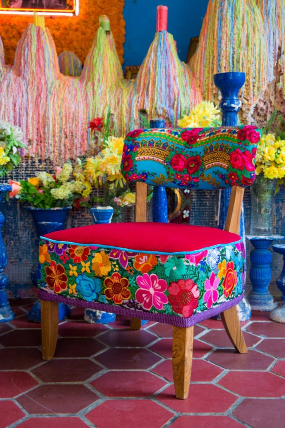 A Unique Pair Of Chairs Upholstered With Mexican Traditional Embroidery