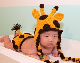 Made To Order: Baby Giraffe Crochet Hat and Diaper Cover Set, Photo Prop,