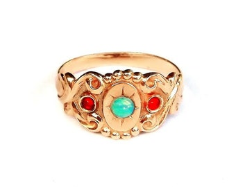 Gypsy Ring Engraved in Rose Gold with Opal and Rubies
