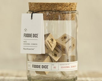 Foodie Dice® Seasonal Dinners Tumbler // Laser engraved wood dice for cooking inspiration // Foodie Gift, or Hostess Gift