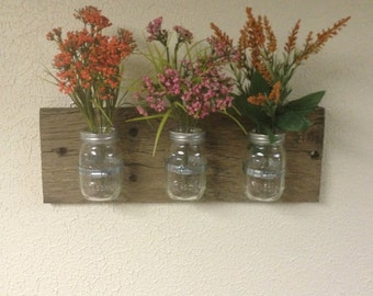 Rustic Mason Jar Vase/Candle Display
