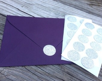 Silver Glitter Envelope Seals Stickers 1 inch - Wedding Stationary