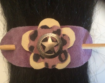 Leather Hair Barrette Stick, Handmade Leather Hair Accessories, Purple Hair Barrette Stick, OOAK Hair Decoration, Made in Canada