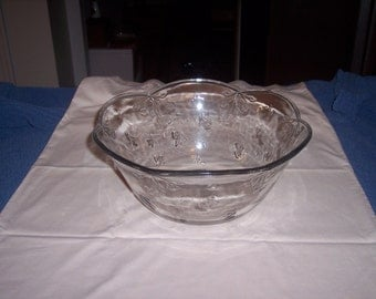 Vintage large glass patterned bowl