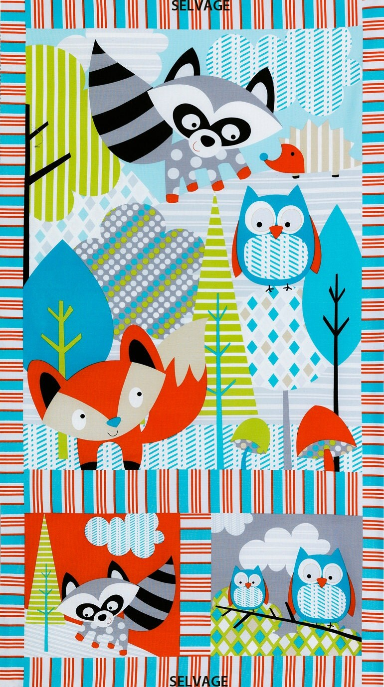 Woodland Baby Fabric Panel Timeless Treasures Fun C2593