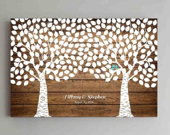 250 Guest Wedding Guest Book Wood Two Double Tree Wedding Guestbook Alternative Guestbook Poster Wedding Guestbook Poster - Wood design