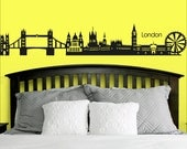 Wall Decal Vinyl Sticker Decals Art Decor Design City Skyline London Town Buildings World Map Mural Skyscrapers Bedroom Modern Style  (r412)